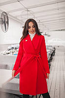 Женское демисезонное пальто материал турецкий кашемир на подкладке красное