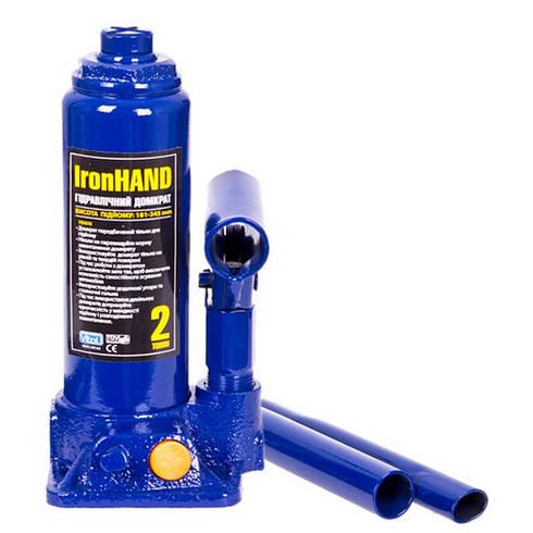 Домкрат гидравлический Vitol бутылочный 2 тонны 181-345 мм 3.2 кг ДБ-02006