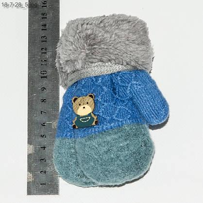 Оптом детские варежки с меховой подкладкой на 1-2 года - №18-7-28, фото 3