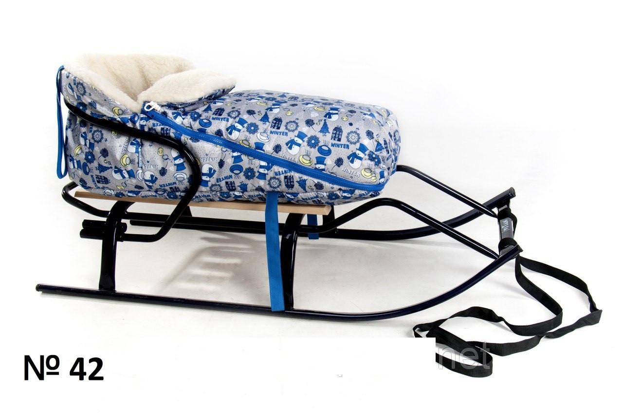 Хутряний конверт для санок і колясок Сніговик сірого кольору