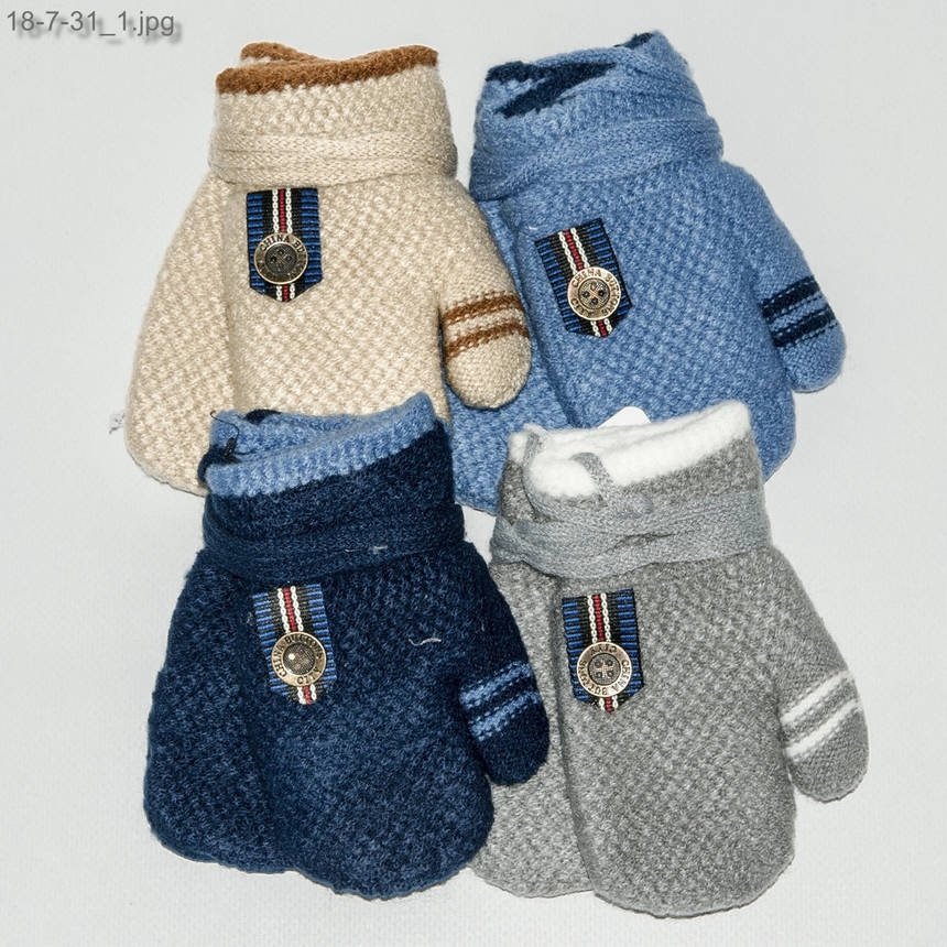 Оптом детские варежки с меховой подкладкой для мальчика на 1-3 года - №18-7-31, фото 2