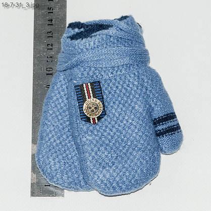 Оптом детские варежки с меховой подкладкой для мальчика на 1-3 года - №18-7-31, фото 3