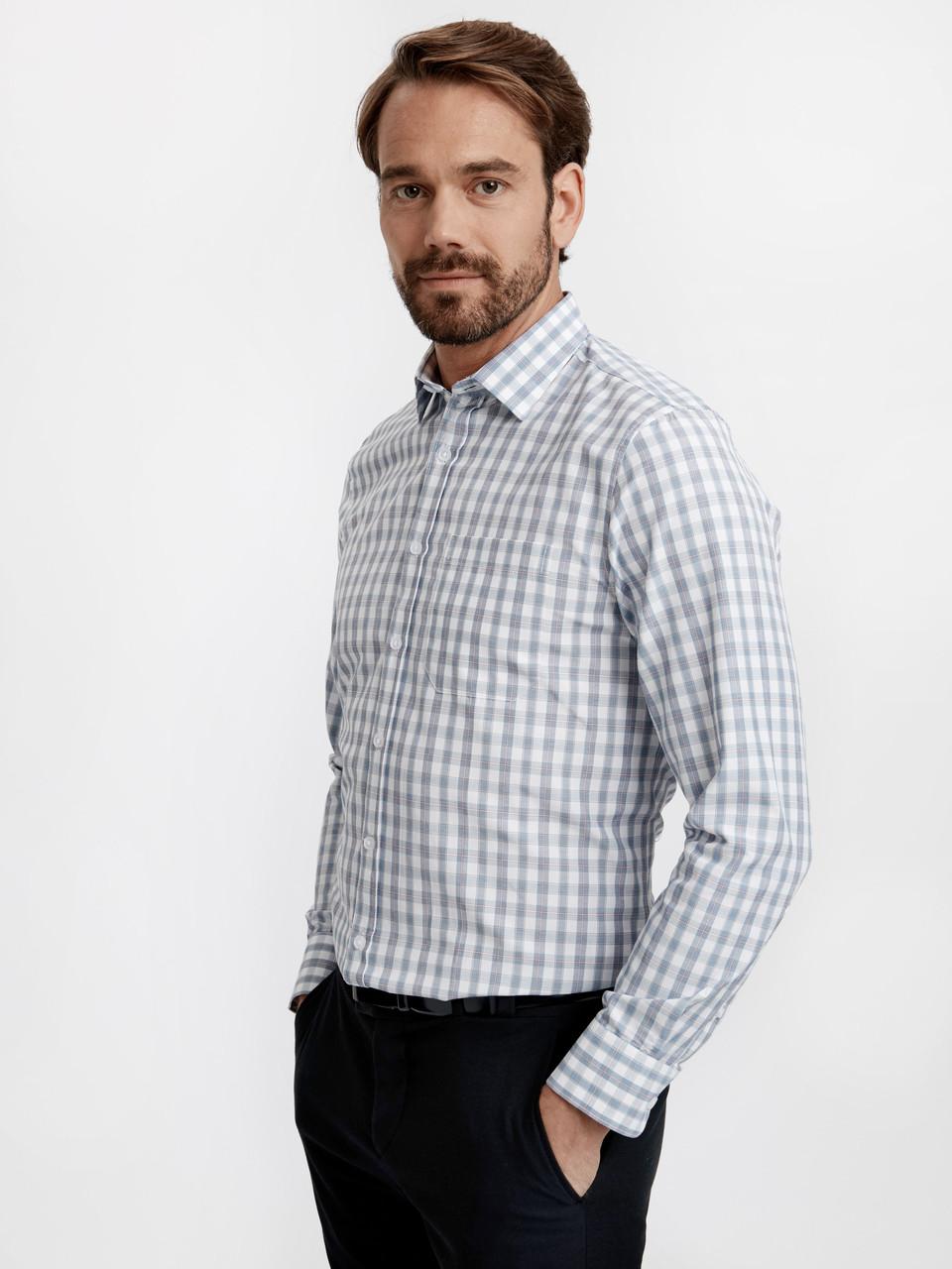 Мужская рубашка LC Waikiki / ЛС Вайкики в голубую клетку и красную клетку