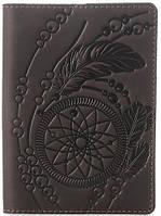 Обложка на паснорт SHVIGEL 13793 из винтажной кожи Коричневвя, Коричневый