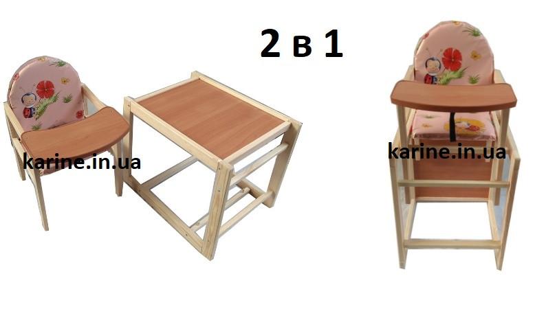 Стульчик для кормления трансформер детский деревянный розовый
