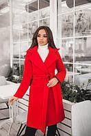 Женское демисезонное пальто с поясом и карманами материал турецкий кашемир на подкладке красное