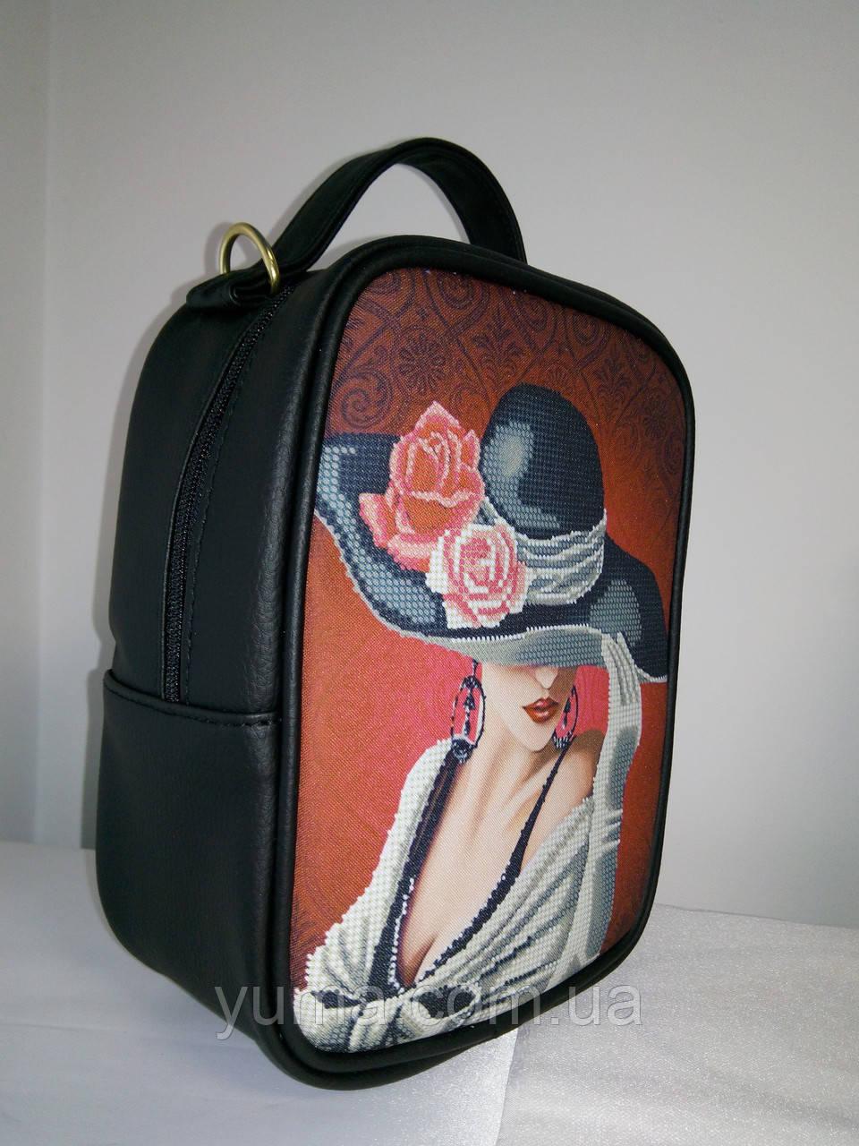 Сумка-рюкзак для вышивки бисером   Рюкзак Модель 1 С 7 черный кожзам