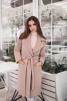 Женское демисезонное пальто с поясом и карманами материал турецкий кашемир на подкладке бежевое