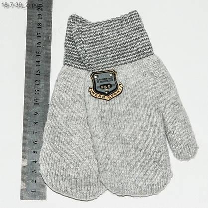 Оптом детские вязаные варежки для мальчика на 6-9 лет - №18-7-39, фото 2