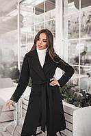 Женское демисезонное пальто с поясом и карманами материал турецкий кашемир на подкладке черное