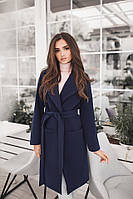 Женское демисезонное пальто с поясом и карманами материал турецкий кашемир на подкладке темно-синее, фото 1