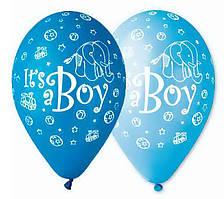 """Воздушные шары """"I*ts Boy Слоник Паровозик"""" 12""""(30см) Пастель Ассорти  В упак:100 шт. Пр-во""""Gemar"""" Италия"""