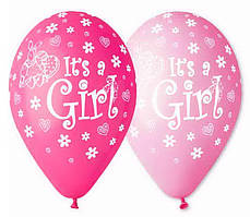 """Воздушные шары """"I*ts Girl Зайчик Цветочки"""" 12""""(30см) Пастель Ассорти  В упак:100 шт. Пр-во""""Gemar"""" Италия"""