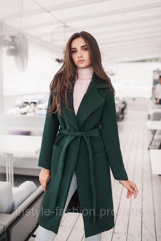 Женское демисезонное пальто с поясом и карманами материал турецкий кашемир на подкладке зеленое