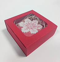 Коробка для сувениров, подарков, украшений красная 90х90х35 мм.