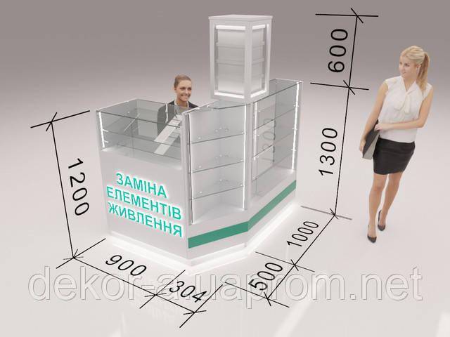 Реалистичная 3д визуализация торговой точки с размерными линиями