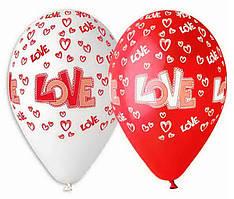 """Воздушные шары """"LOVE"""" 12""""(30см) Пастель Белый Красный В упак:100 шт. Пр-во""""Gemar"""" Италия"""