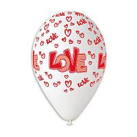 """Воздушные шары """"LOVE"""" 12""""(30см) Пастель Белый В упак:100 шт. Пр-во""""Gemar"""" Италия"""