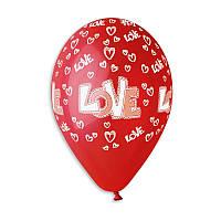 """Воздушные шары """"LOVE"""" 12""""(30см) Пастель Красный В упак:100 шт. Пр-во""""Gemar"""" Италия"""