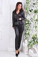 Темно-серый элегантный стильный женский костюм жакет с кожаным пояском + брюки зауженные . Арт-1161/19, фото 1