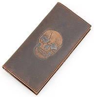 Вертикальный мужской кошелек из натуральной кожи Vintage 14386, Коричневый, фото 1