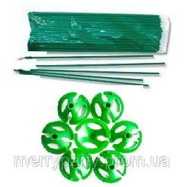 33 см Держатель для воздушных шаров с насадкой зеленые 1 шт.