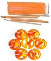 Держатель для воздушных шаров с насадками оранжевые 30 см 1 шт.