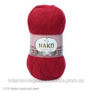 Пряжа Nako Angora Luks темно красный