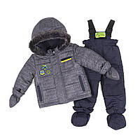 Зимний термокомплект BABY для мальчика 1-3 года (рост 75-97 см) ТМ Peluche&Tartine Stone / Navy F18 M 09 BG, фото 1