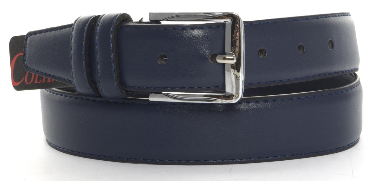 Мужской классический ремень из качественного заменителя кожи 3.5 см (103289) синий