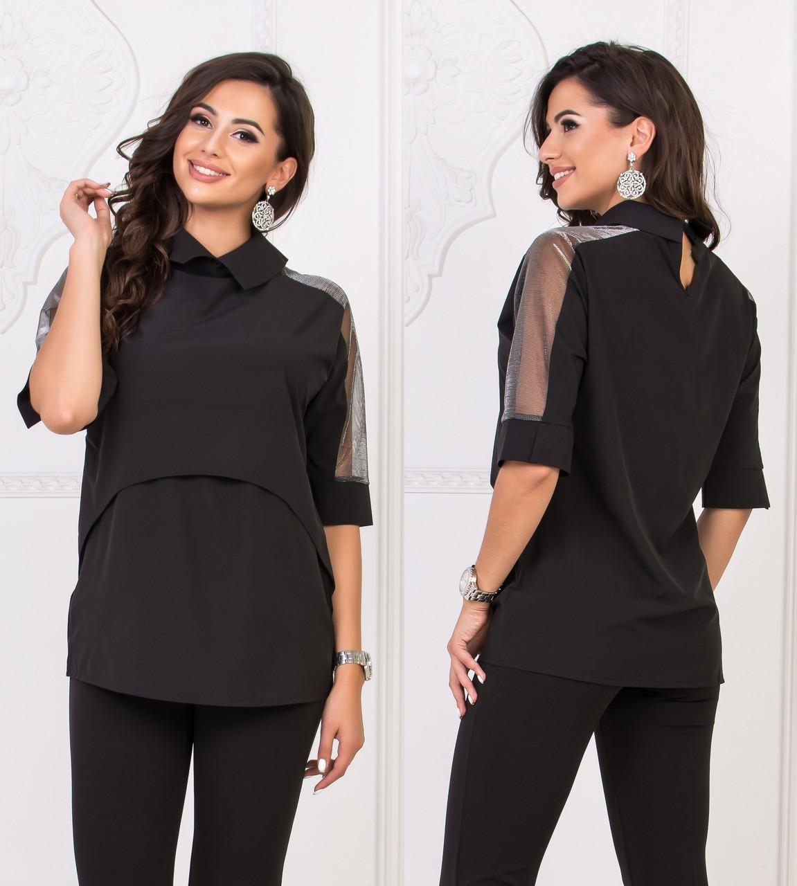 Блузка со вставками на рукавах