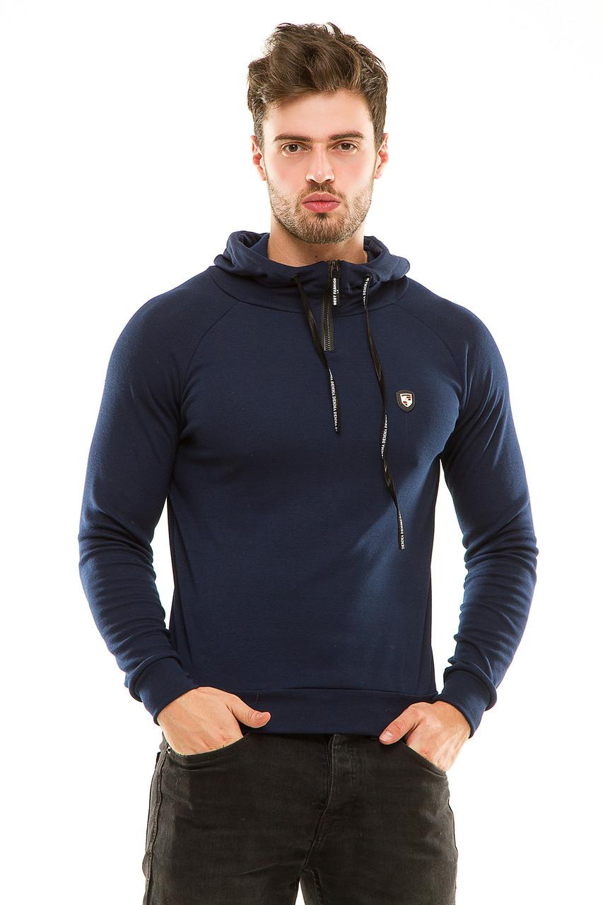Реглан  с капюшоном 455 темно-синий