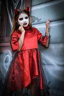 Карнавальный костюм для девочки из атласа на Хэллоуин Чертик красного цвета, фото 1