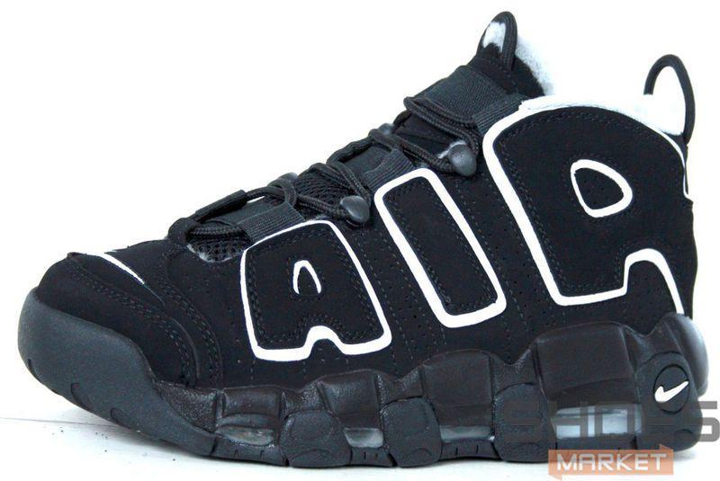 Зимние мужские кроссовки Nike Air More Uptempo All Black Winter ... 35685de4fdeb7