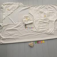 Набор для крещения (крыжма+рубашка на завязочках+чепчик с крестиком) молочный