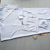 Набор для крещения (крыжма+рубашка на завязочках+чепчик с крестиком) белый