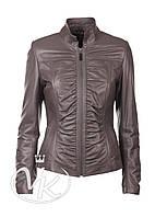 Серая кожаная куртка с драпировкой (размер S)
