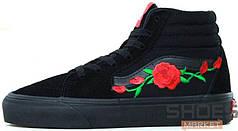 Мужские кеды Vans Art Roses High All Black, Ванс Арт