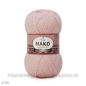 Пряжа Nako Angora Luks рожевий меланж