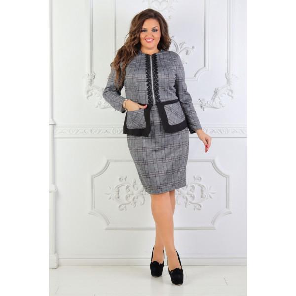 9bc0f40b184 Женский костюм стильный батал размеры 52-54-56 цвет серый  продажа ...