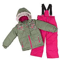 Зимний термокостюм KIDS для девочки 3-8 лет (96-134 см) ТМ Peluche&Tartine Khaki / Berry F18 M 64 EF, фото 1