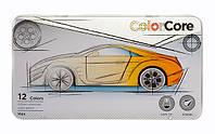 Карандаши шестигранные Color Core металлический пенал 12 цветов Marco