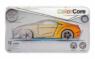 Олівці шестигранні Color Core металевий пенал 12 кольорів Marco