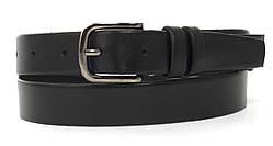 Кожаный прочный подростковый ремень3см (103278) черный