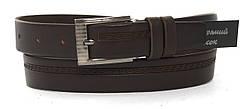 Кожаный прочный подростковый ремень3см (103156) коричневый