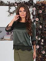 Шелковая Блуза Азалия хаки