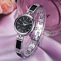 Женские часы Lupai серебряные с черным, жіночий годинник, наручные часы на браслете