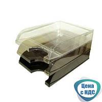 Лоток для бумаги горизонтальный, пластиковый, 1 уровень, дымчатый, черный, прозрачный