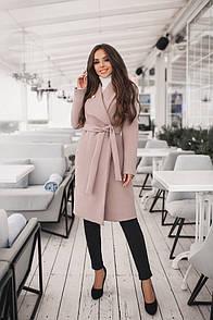 Пальто кашемировое на запах с брошью ( 4 цвета)