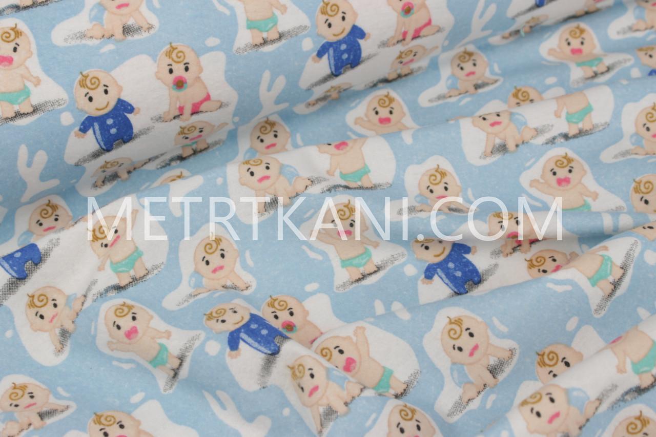"""Фланель для постельного """"Малыши с сосками"""" на голубом фоне 180 см №1218"""